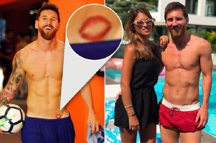 Hình xăm đôi môi ở dưới thắt lưng của Messi